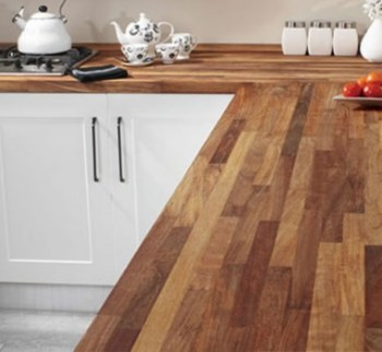 Laminate worktop in a dark oak butchers block finish